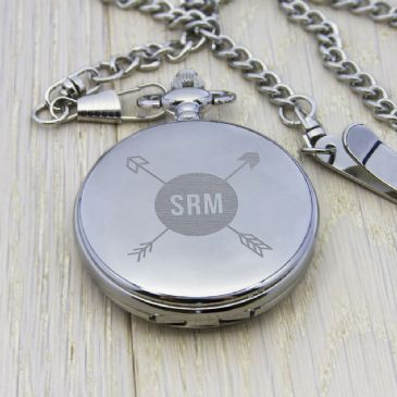 Personalised Groomsman Monogramed Pocket Watch - Silver